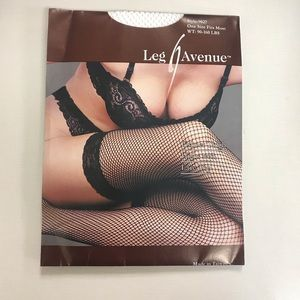 2/$20 Leg Ave Fishnet Thigh Highs with Lace-OS